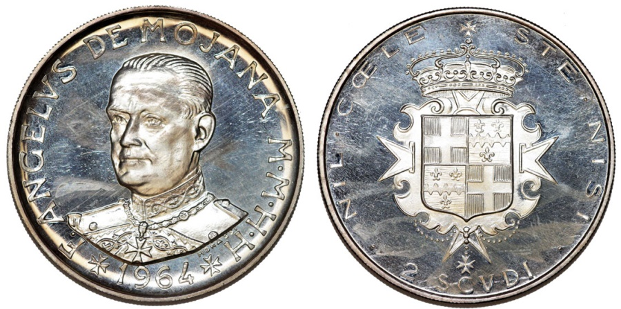 World Coins - Order of Malta. AR 2 Scudi 1964. Proof