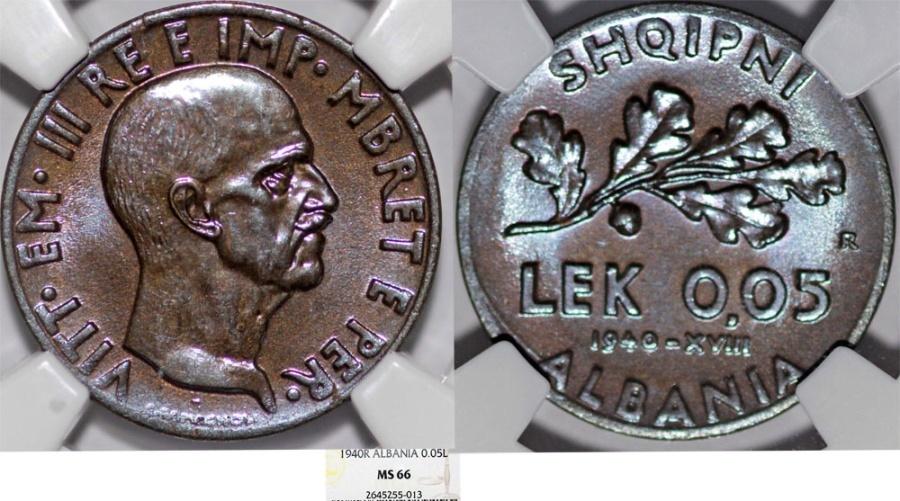 World Coins - Albania as Italian Colony (1925-1939), Vittorio Emanuelle III. AL/AE 0.05 Lek 1940-R. NGC MS66