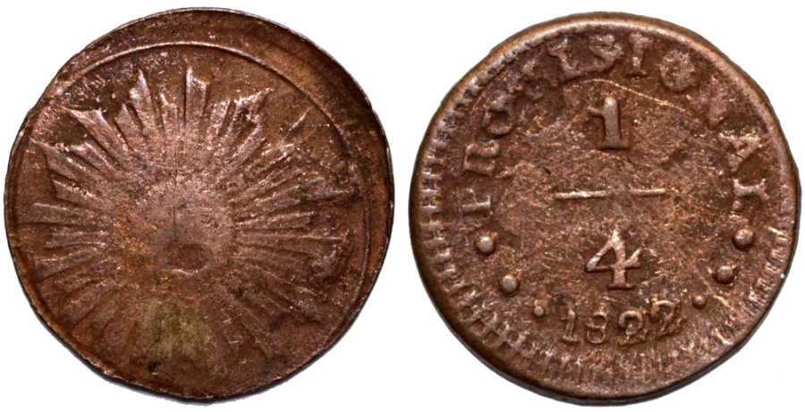 World Coins - Peru. Republic. Provisional Coinage. Copper 1/4 Real 1822. Fine