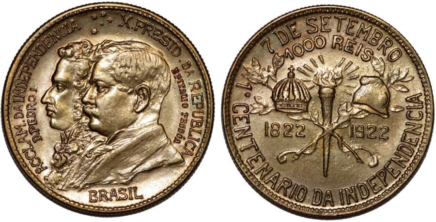 World Coins - Brazil. Republic. AE Commemorative 1000 Reis 1922. UNC
