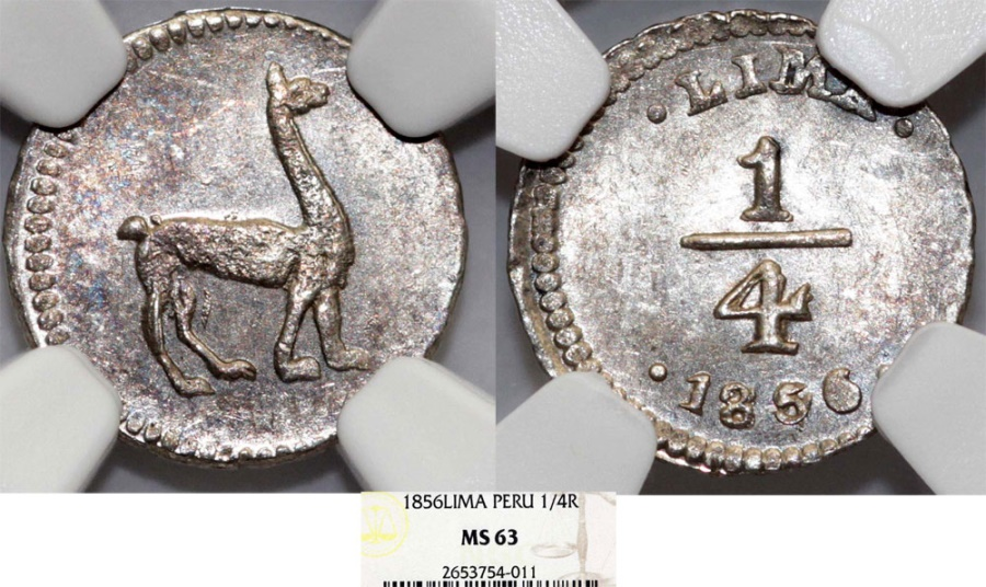 World Coins - Peru. Republic. Silver 1/4 Real 1856 L. NGC MS63, BEST GRADE!