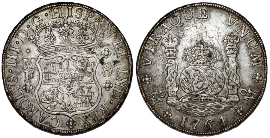 World Coins - MEXICO. Colonial Issue. Carlos III as  King of Spain (1759-1788). AR 8 Reales 1764 Mo- MF. VF