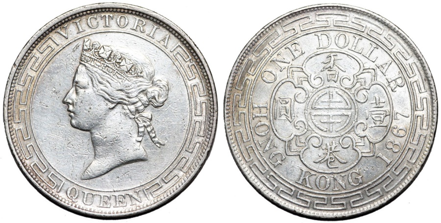 World Coins - British Colony: Hong Kong. Queen Victoria. Silver Dollar 1867. XF, RARE!
