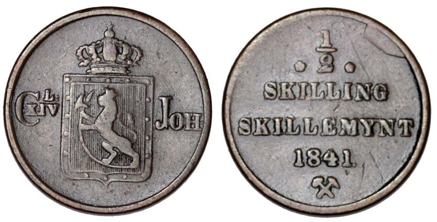World Coins - Norway. Carl XIV. CU 1/2 Skilling 1841. Nice Brown VF