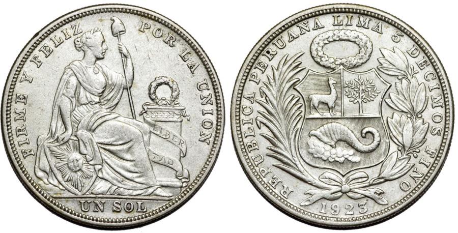 World Coins - Peru. Republic. AR 1 Sol 1923. Choice XF