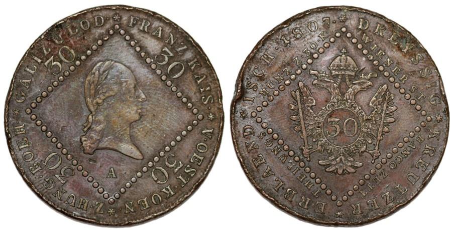 World Coins - Austria. Franz II. CU 30 Kreuzer 1807-A. Nice VF