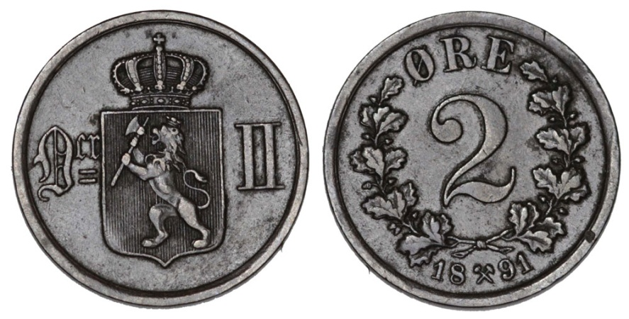 World Coins - Norway. AE 2 Ore 1891. XF/AU