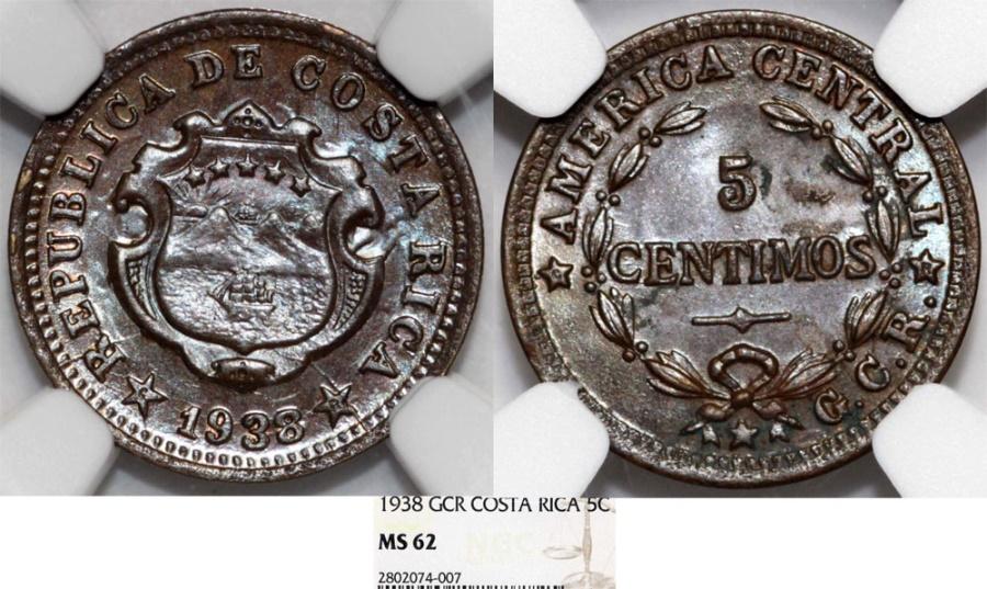 World Coins - Costa Rica.Republic. 5 Centimos 1938 . NGC MS62