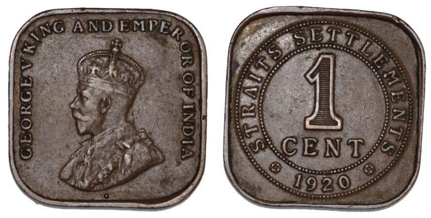 World Coins - Straits Settlements. George V. AE 1 Cent 1920. XF/AU
