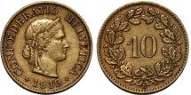 World Coins - Switzerland. Federation Inssue. Scarce Brass 10 Rappen 1919B, Choice XF
