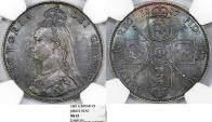"""World Coins - Great Britain. Queen Victoria (1837-1901) AR """"Jubilee"""" Florin (2s) 1887. NGC MS63, Beauty!"""