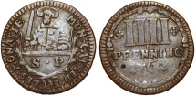 World Coins - Germany. Catherdral Chapter of Munster. Very Nice 4 Pfenning 1762. VF