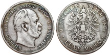 World Coins - Germany Empire. Prussia. Wilhelm I (1871-1888). Silver 5 Mark 1876 A. Good  VF