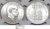 "World Coins - Denmark. Christian X (1912-1947). Silver 2 Kroner 1937 NS. ""25 years of reign"". NGC MS64"