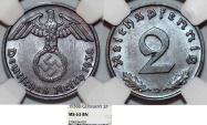 World Coins - Germany. Third Reich. Bronze 2 Reichspfennig 1938 D. NGC MS63 BN