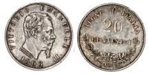 World Coins - Italy. Vittorio Emanuele II. AR 20 Centesimi 1863. XF+