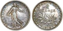 World Coins - France. Republic. Silver 2 Francs 1918 A. AU, nicely toned