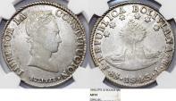 World Coins - Bolivia. Republic. AR 8 Soles 1843/2 PTS-LR. NGC AU53, very nice piece