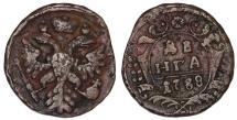 World Coins - Russia. CU 1 Denga 1738. AVF