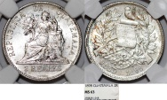 World Coins - Guatemala. Republic. AR 2 Reales 1898. NGC MS63,  Choice UNC!
