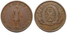 World Coins - Canada. Quebec Bank Copper Half Penny Token 1837. About VF