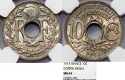 World Coins - France. Republic. NiCu 10 Centimes 1917. NGC MS64
