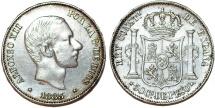 Phillipines as Spanish Colony. Alfonso XII. AR 50 Centavo 1885. Nice XF