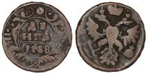 World Coins - Russia. CU 1 Denga 1738. Fine+
