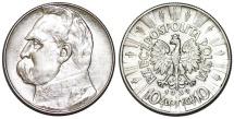 World Coins - Poland. II Republic (1918-1939). AR 10 Zloty 1939. Choice XF