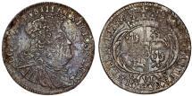 World Coins - Poland - Saxony. August III (1733-1763). RARE AR 6 Groschen 1755 EC. Toned Choice VF