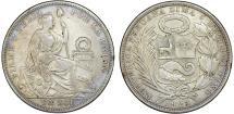 World Coins - Peru. Republic. AR 1 Sol 1923. Choice VF