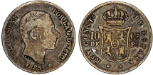 World Coins - Phillipines as Spanish Colony. Alfonso XII. AR 10 Centavo 1885. Fine