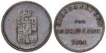 World Coins - Denmark. National Bank Token. CU 16 Skilling 1814. AVF/VF