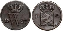 World Coins - Netherlands. Kingdom. William I. AE 1 Cent 1827. VF