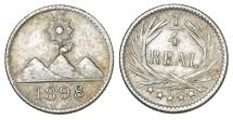 World Coins - Guatemala. AR 1/4 Real 1898. AU+