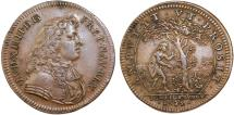 World Coins - France. Luis XIV. Copper Jeton 1675. Kings Domain. Choice VF