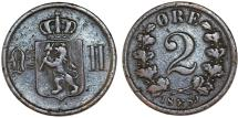 World Coins - Norway. King of Sweden Oscar II. AE 2 Ore 1889. About VF