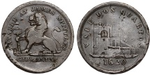 World Coins - Gibraltar. Great Britain. James Spittles Bronze Token of Two-Quartos 1820. About VF