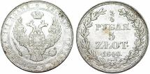 World Coins - Imperial Russia. Warsaw mint. Coinage for Poland. Silver 5 Zloty - 3/4 Ruble 1840 MW. VF