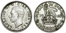World Coins - Great Britain. George VI. AR Shilling 1940. Choice XF