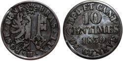 World Coins - Swiss Cantons. City of Geneva. 10 Centimes 1839. VF+
