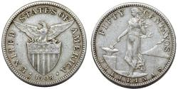 World Coins - Philippines. USA administration. AR 50 Centavos 1908 S. XF