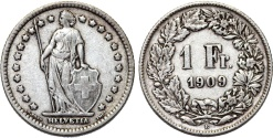 World Coins - Switzerland. Federation. AR 1 Franc 1909. VF