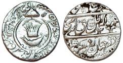 World Coins - INDIA, Princely States. Awadh. Amjad Ali Shah. AH 1258-1263/AD 1842-1847. AR Rupee 1845. Near XF