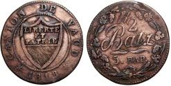World Coins - Swiss Cantons. Vaud. Cu 1/2 Batzen 1818. About VF