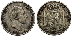 World Coins - Phillippines as Spanish Colony. Alfonso XII. AR 50 Centavo 1881. Nice VF