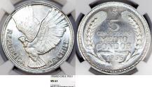World Coins - Chile. Republic. Aluminiuml 5 Pesos 1956 So. NGC MS63, one year type.