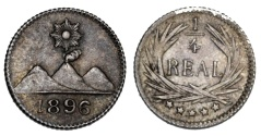 World Coins - Guatemala. AR 1/4 Real 1896. AU+