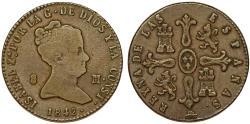 World Coins - Spain. Isabel II. CU 8 Maravedis 1842. Choice VF