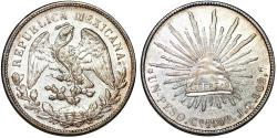 World Coins - Mexico. Republic. AR Peso 1902 Mo AM. CHOICE UNC